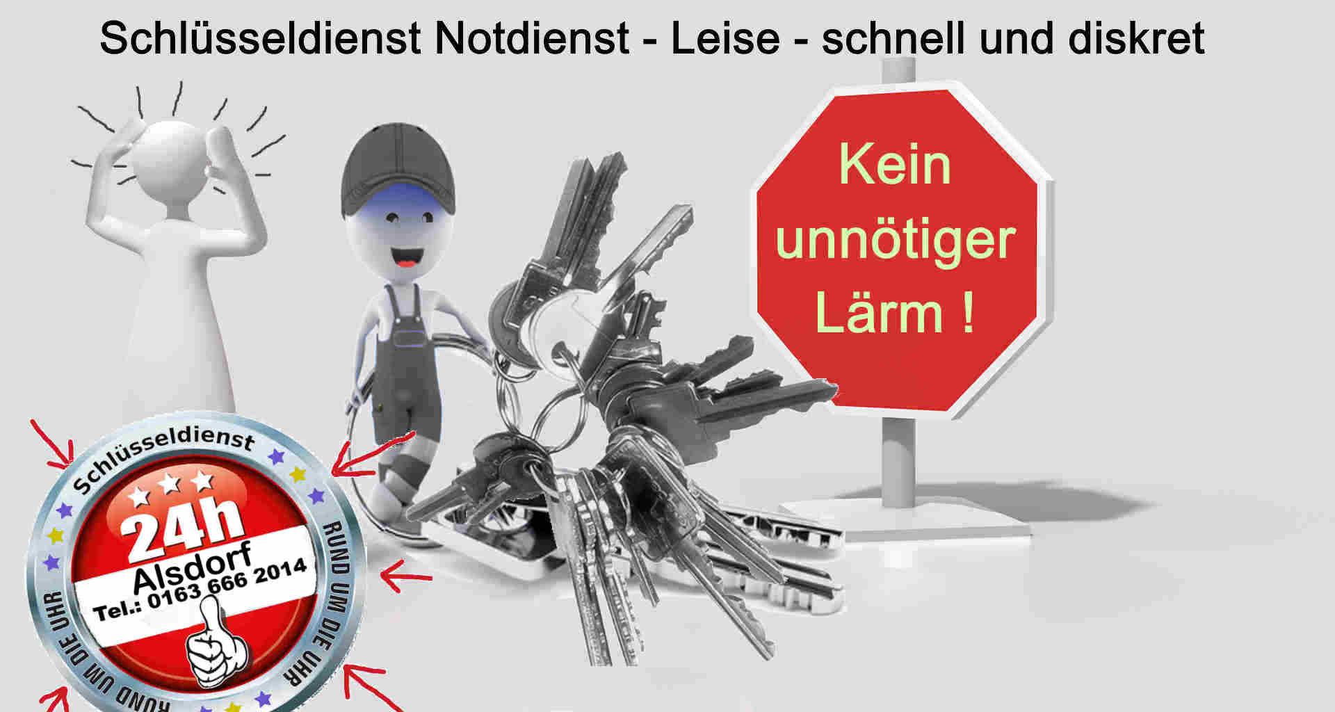 Leise - schnell und diskret ! Schlüsseldienst Alsdorf - Kein Nachbar wird gestört !